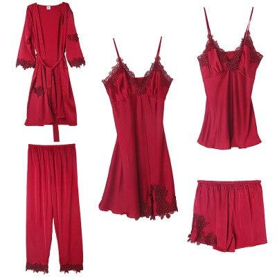 Daeyard Women's Pajamas Silk 5Pcs Pajama Set Satin Appliques Trimmed Pyjamas Sexy Lace Pijama Nightie Sleepwear Home Clothes