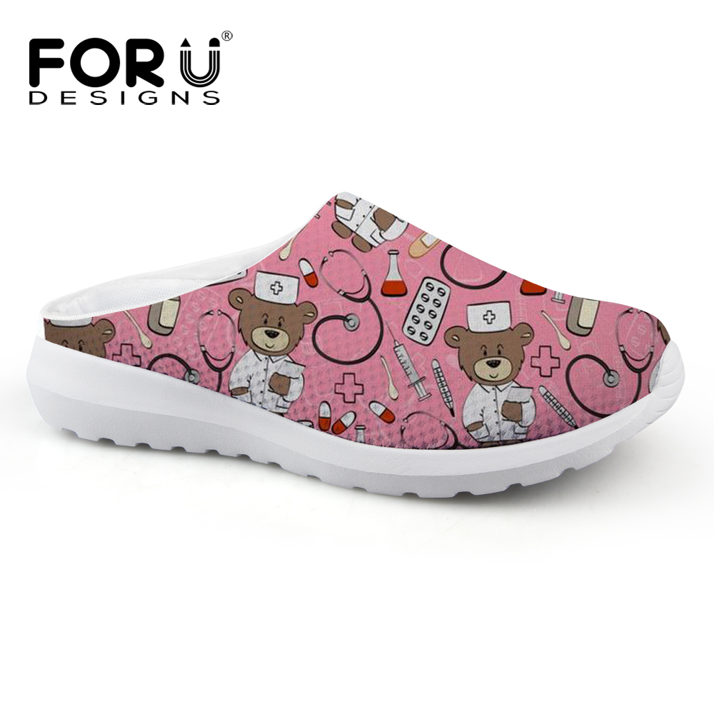 FORUDESIGNS Summer Sandals Women Cute Nurse Bear Print Casual Women's Sandals Breathable Mesh Female Flats Shoes Sandalias Woman forudesigns women casual sneaker cartoon cute nurse printed flats fashion women s summer comfortable breathable girls flat shoes