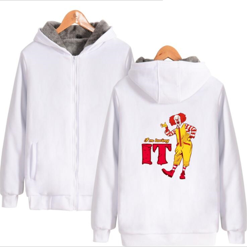 Horror Movie It Pennywise Oversized Hoodies Sweatshirt Men Women Clown Stephen King Winter Thick Warm Zipper Hooded Jacket Coats Men's Clothing