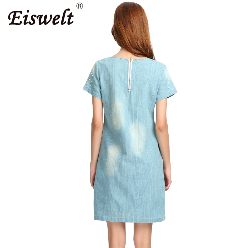 EISWELT Plus Size 5XL Dress Women Jeans Sundress Women s Casual Denim Dress  Vestido Summer Style Beaded Party Tunic Dresses-in Dresses from Women s  Clothing ... c2eccf8523