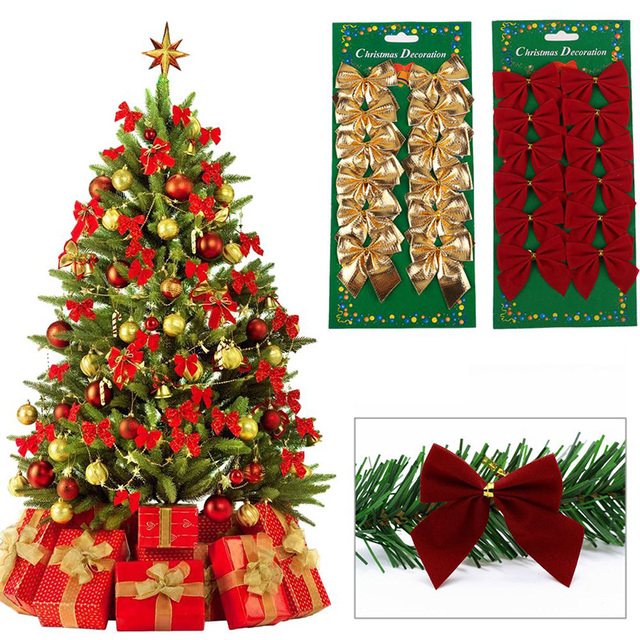 12Pcs Cloth Christmas Tree Bow not Decorating Baubles XMAS Wedding ...