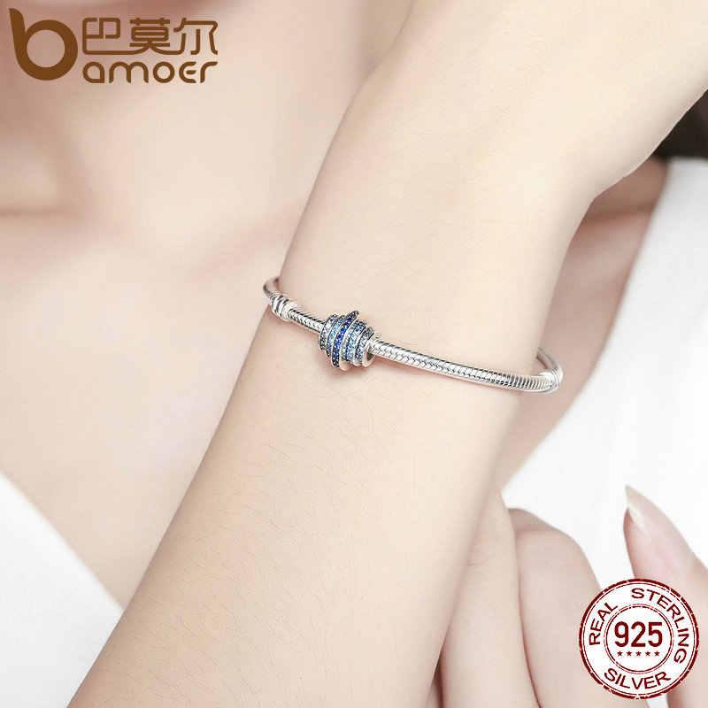 BAMOER oryginalne 925 srebro ze stopniową zmianą okrągłe koło niebieski Melody wyczyść CZ kryształowe Charms fit bransoletki biżuteria SCC129