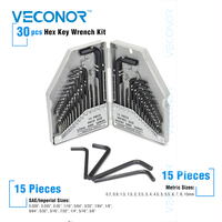Veconor 30pcs Hex Key Wrench Set 15 Pcs SAE Imperial Size 15 Pcs Metric Size CrV