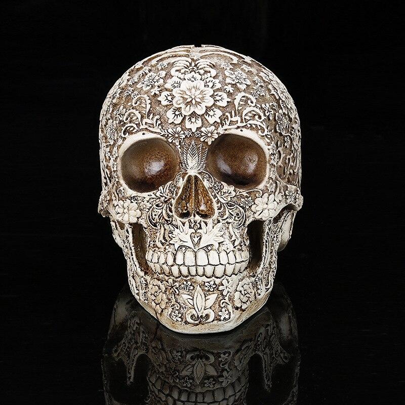 Horror Home Table Decoration Handicraft Human Terror Resin Skull Skeleton Statue Sculpture Halloween Decoration Model Art Gift