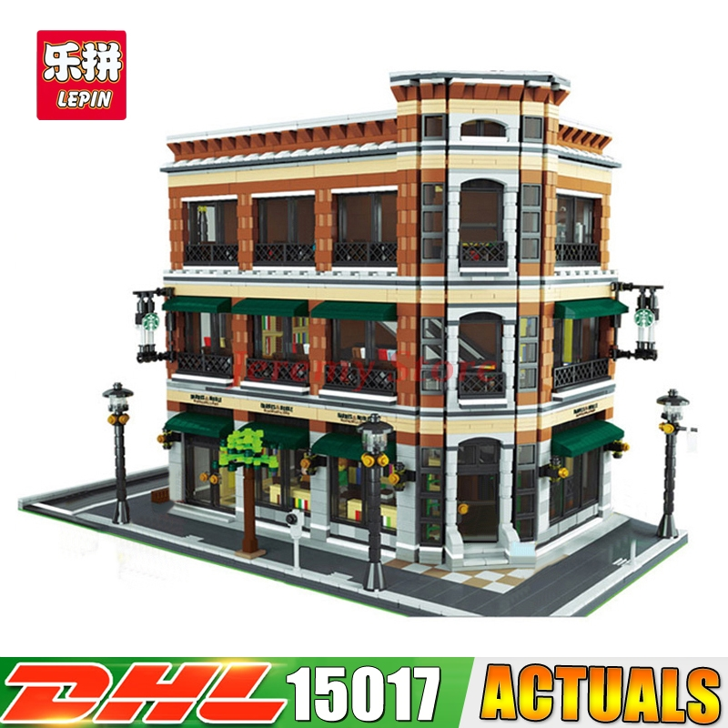 2017 Modular MOC LEPIN 15017 4616Pcs City Street Starbucks Bookstore Cafe Model Building Kits Set Blocks Brick Toy ynynoo lepin 02043 stucke city series airport terminal modell bausteine set ziegel spielzeug fur kinder geschenk junge spielzeug