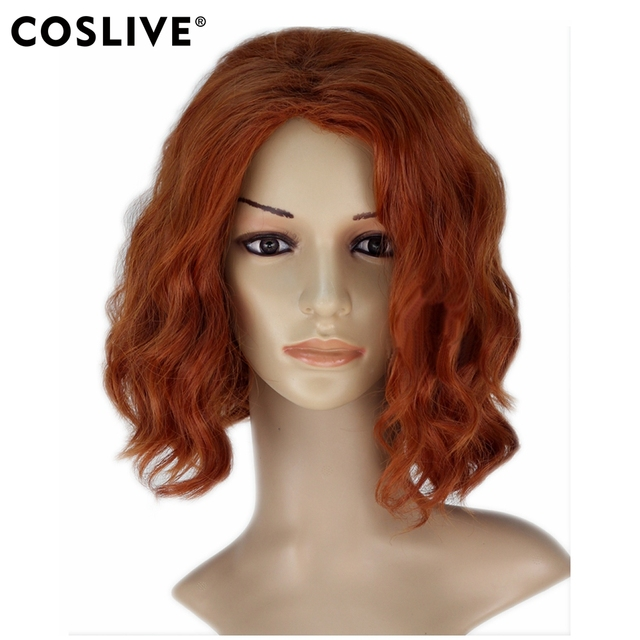 Aliexpress Com Buy Coslive Avengers Infinity War Black Widow Orange Short Wavy Cosplay Heat Resistant Fibers Hair Costume Headwear Prop From