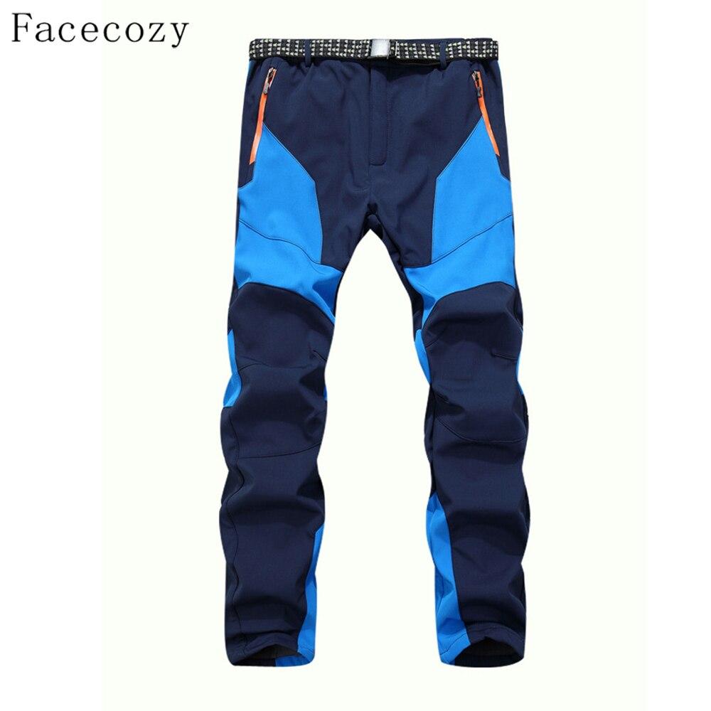 Facecozy Men Winter Windproof Hiking&Camping Pants Male Waterproof Outdoor Trekking Pants Sports Patchwork Softshell Trousers