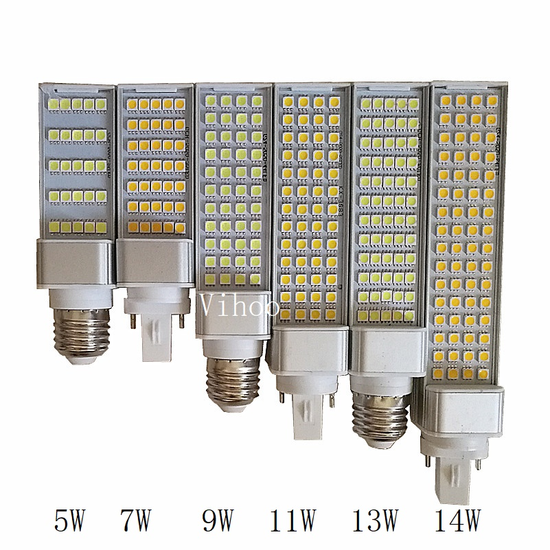 Led Bulb 5W 7W 9W 11W 13W 14W G23 G24 E27 Lamp 180 Degree Corn Bulbs Warm Cold White AC85-265V Horizontal Plug Spot Downlights