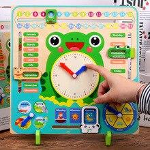 Wooden Calendar Kids Learning Clock Toy Multifunctional Wood Board Montessori Preschool Time Cognitive