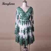 Berylove прекрасный Короткие Зеленые Homecoming платья с рукавами Тюль Кружева V шеи Homecoming платье вечерние платья Платья для выпускного