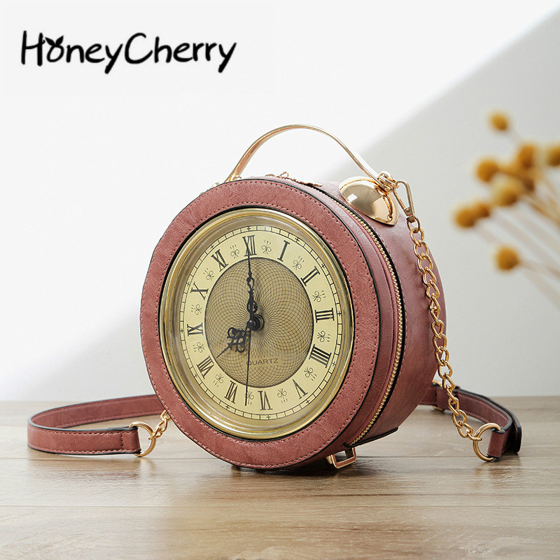 Modeling Of Small Round Bell With Individual Chain In The New Kind Of Women's Bag Hand-held Slant Bag Clock Bag In 2019