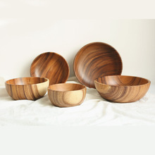 Whole wood solid wood bowl European flat bottom durable crack control Salad Noodle soup Cooking bowl
