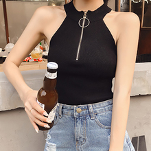 shintimes White Tank Top Women 2019 Black Zipper Crop Casual Summer Sleeveless Knitted Woman Clothes Haut Femme Tops Mujer