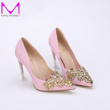 High Quality Satin Women Pumps Pointed Toe High Heels Bridal Blue Satin Rhinestone Shoes Fashion Design Evening Party Shoes
