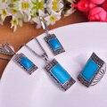 Azul Conjuntos de Jóias de Prata Antigo Do Vintage Colar Brinco Anel Set Princesa Ganchos Brincos Big Size Anéis Bijoux Turca Neclace