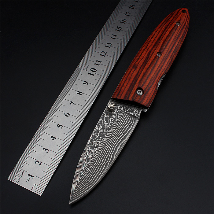 2017 New High Quality Damascus Outdoor Folding Knife Self-defense Colour Wood High Hardness Field Survival Camping Fruit Knives outlife new style professional military tactical multifunction shovel outdoor camping survival folding spade tool equipment