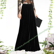 2019 Spring and Autumn Vintage Black Gold Velvet Mopping the Floor A-line Maxi ladies Skirt Plus Size 4XL XXXXL Skirts Womens