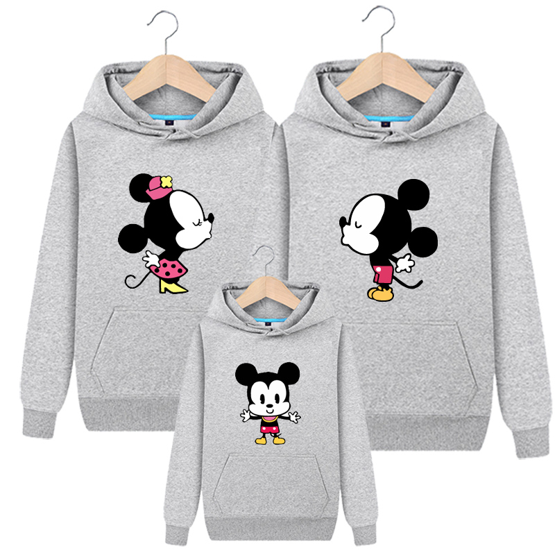 DisneyCartoon Mickey Mouse Sweater for Girls and Boys Velvet Cotton Hooded Parent-child Outfit Family Suit for Autumn and Winter брюки barkito mickey mouse family
