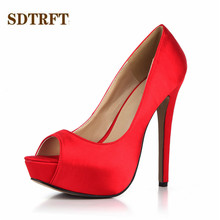 SDTRFT Summer Stilettos zapatos mujer 14cm Thin High Heeled Peep Toe RED shoes woman sexy Lady Platforms Bridal pumps Plus:35-43