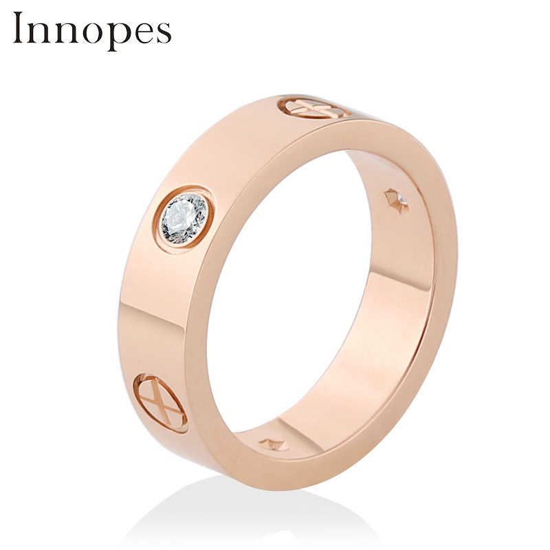 Innopes แฟชั่น Philip หัวสกรู zircon แหวนสแตนเลสแหวนผู้ชายผู้หญิง rose gold แหวนขาย