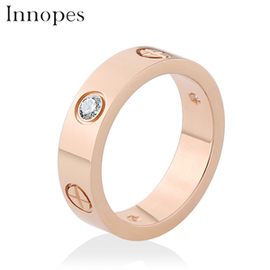 Innopes fashion Philip's head screw zircon ring simple stainless steel men's ring rose gold women's ring hot sale(China)