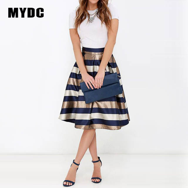 f0d795f5a9f MYDC Sexy Women Stretch Natural Waist Pleated skirt Striped Printed Casual  Knee-Length Skirt 2018