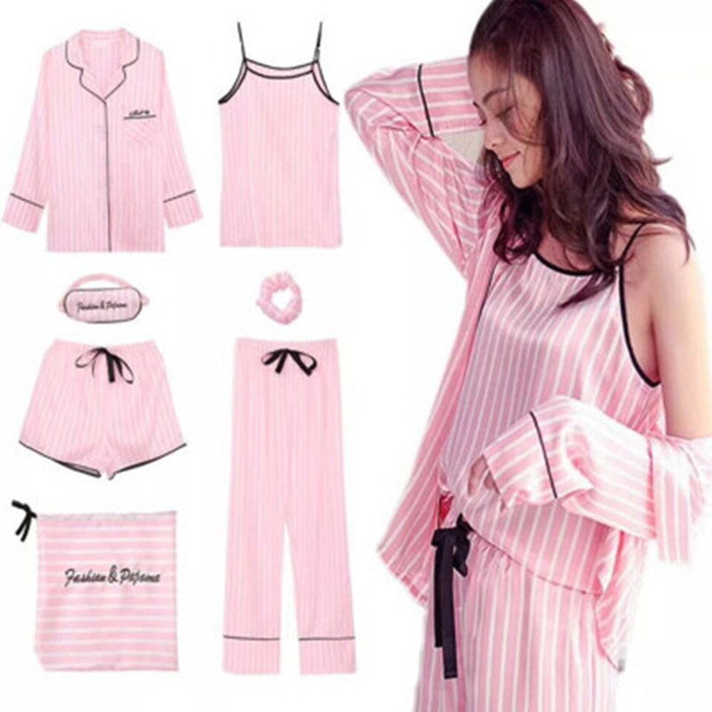 7 PCS Pink Striped Pajamas Silk Satin Femme Pajama Set Stitch Nightgown Sleepwear Women Sleepwear Pajama Free Shipping 2019 SY-A