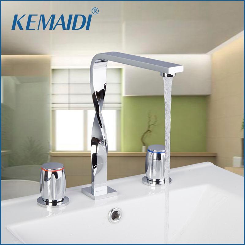 KEMAIDIBathtub Shower Faucet Construction & Real Estate 3PCS Set Deck Mounted Chrome  Basin Mixer Bathroom Tap real estate broker 500g