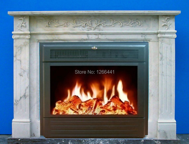 Electric Fireplace Set Carved Marble Mantel Insert Guest Room Decor Custom Made Warmer