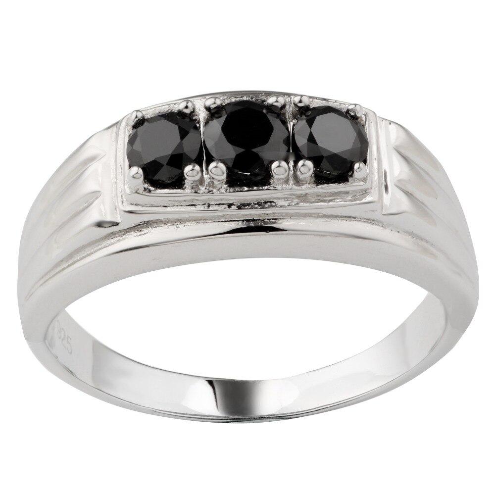 925 Sterling argent hommes taille de bague 15 3-pierre noir cubique zircone CZ cristal bijoux lourd Super grand doigt R519x15BO