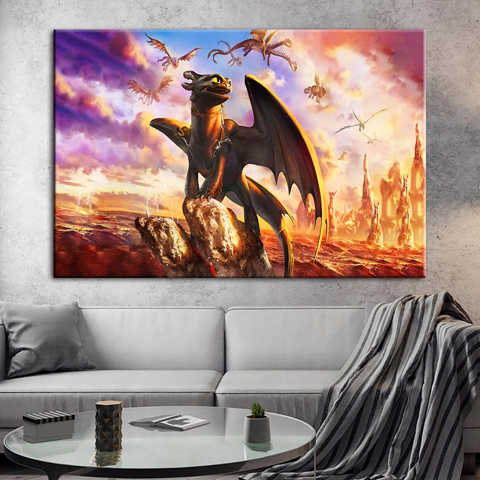 How to Train Your Dragon Art Silk Poster 12x18 24x36 24x43