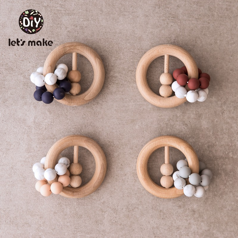Let's Make 1pc Wood Rattle Bpa Free Silicone Beads Food Grade Ring Teething Toy For Teeth Beech Wooden Baby Teether Baby Rattles