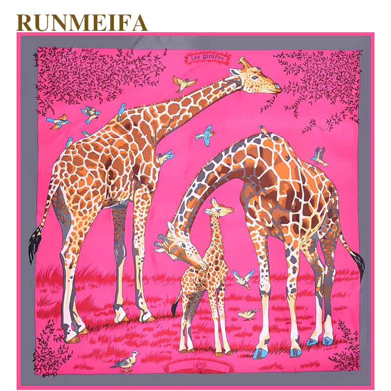 100% Real Silk   Scarf   For Ladies Brand Designer giraffe pattern   Scarves   Spring Fall twill silk square   scarf   women   Scarves     Wraps