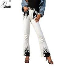 767453ff9102 Moda de Primavera de la calle desgaste de las Mujeres llama imprimir  Pantalones Casual mujer pierna ancha patrón pantalones casu.
