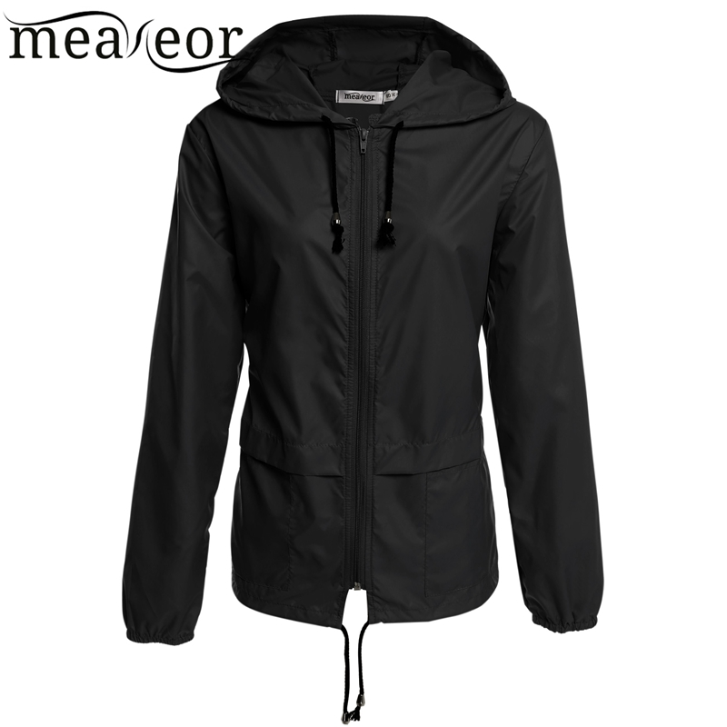 Meaneor Women Rain Coat 2017 Autumn Thin Windbreaker Waterproof Rain Jackets Winter Lightweight Rain coats Rainwear cortavientos ...