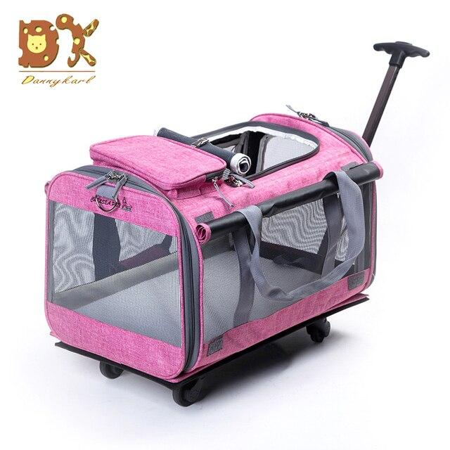DannyKar-sac à roulettes pour animaux | Sac pliable de 20KG de taille moyenne et grand, Cage respirante et à la mode, Portable, pour animal de compagnie, remorqueur, chat, chien, nouvelle collection 2019