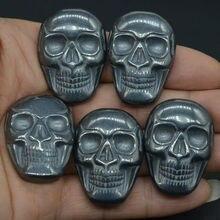 1.37 Natural Gemstone Black Hematite Carved Stone Skull Cab Cabochon Figurine Statue 1 Piece