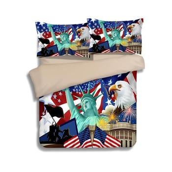 3d luxury The Statue of Liberty/Eagle American flag bedding sets 2/3pc quilt covers set twin full queen size bedlinen bedclothes