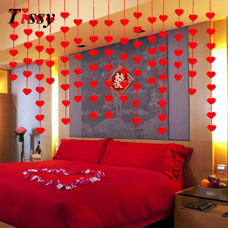 Garlands 1set diy red love heart curtain non woven fabrics for Room decoration products