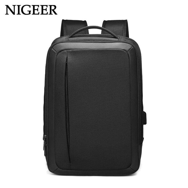 NIGEER черный рюкзак путешествия для Для мужчин 15,6 дюймов Сумка для ноутбука с зарядка через usb Порты и разъёмы водоотталкивающая рюкзаки Бизн...