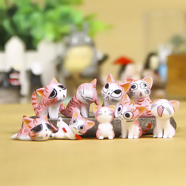 9pcs Kawaii Mini Cheese Cats Kitty Cat Statue Resin Cat Figurines Garden Pot Figures Decoration for Home Kids Toys Gift