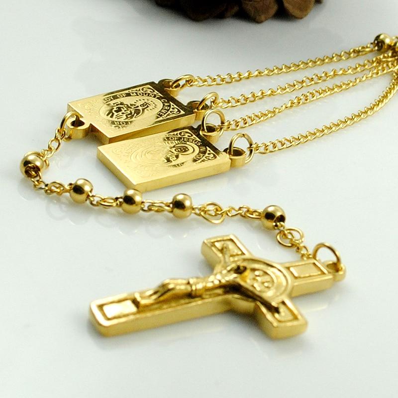 AMUMIU Gold Farbe Rosenkranz Perlen Jesus Stück Kreuz Religiöse - Modeschmuck - Foto 3