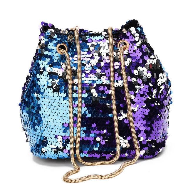 c3a6771dd923 Women s Mermaid Sequin Glitter Bag Leather Purse Shoulder Crossbody Handbag