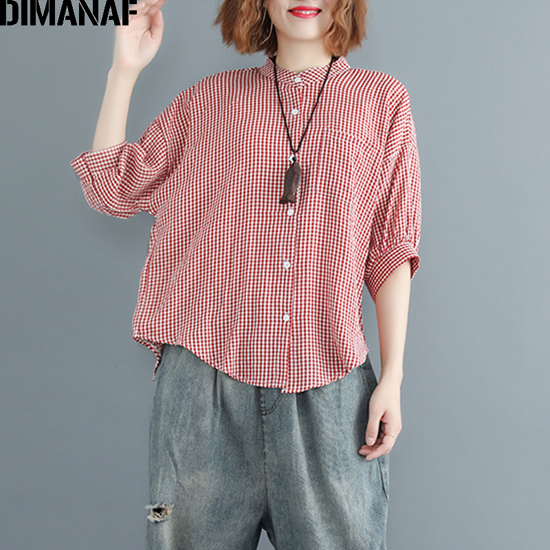 DIMANAF Women Blouse Shirt Cotton Summer Print Plaid Basic Tops Casual Femme Office Lady Loose Plus Size Cardigan Clothing 2018 1