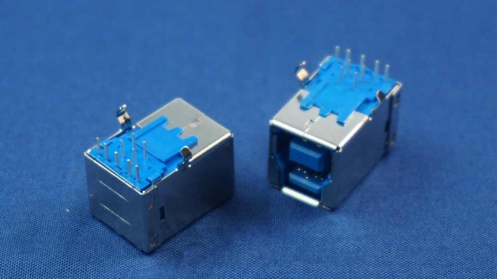 10pcs USB 3.0 Connector B Type Female receptacle right angle through hole 9 contacts blue insulator 1 port Rohs New 10pcs micro usb 2 0 connector b type 5pin smt female receptacle right angle bottom mount reflow solderable locators rohs new