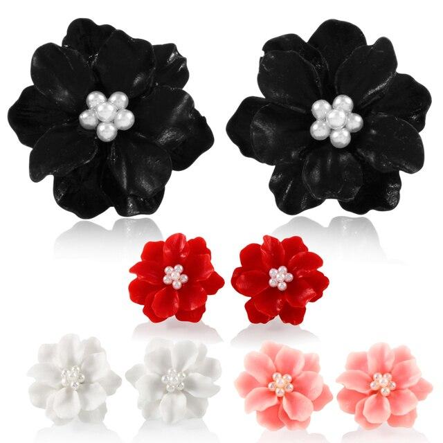 1812481fc6152 US $1.9 20% OFF Swanjo 2Pcs/lot Resin Big Whie Pink Red Rose Flower  Earringd for Women Ear Stud Piercing Earring Piercings Bijoux Jewelry-in  Stud ...