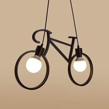 Creative Restaurant Lamp Modern Pendant lights Simple Bike Pendant lamps E27 White/Black AC110V-240V Home lamp Lighting 61cm