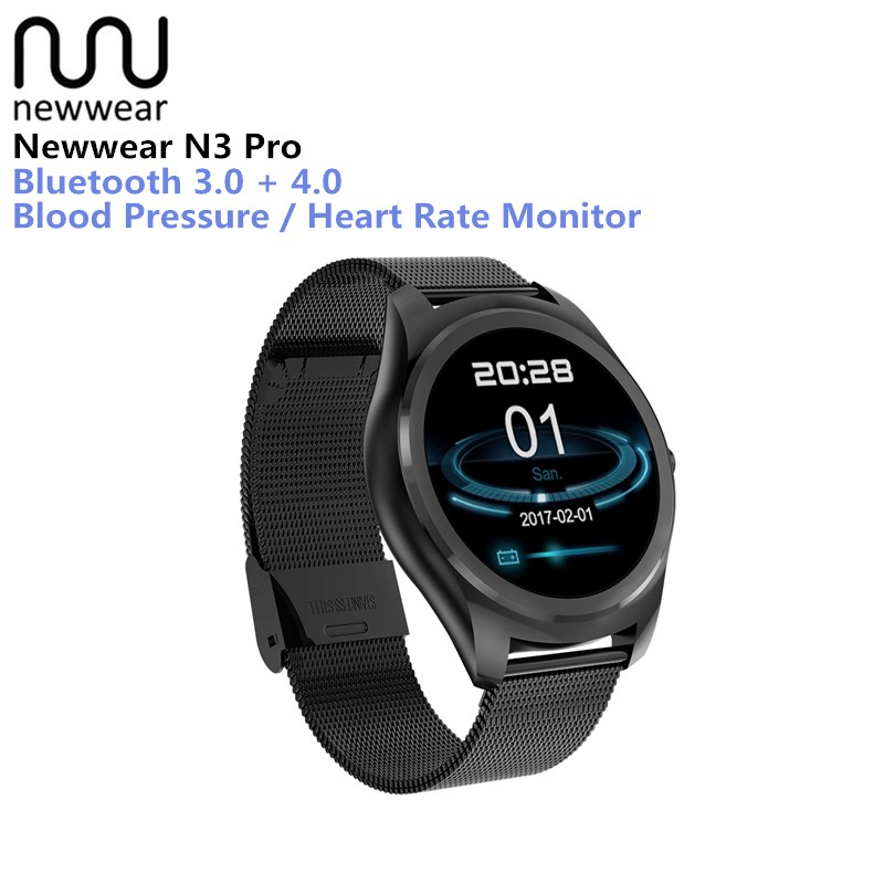 Newwear N3 Pro Smart Watch 1.3 Inch MTK2502 HD Slim Bluetooth Smartwatch Heart Rate Monitor Fitness Tracker For Android IOS цена