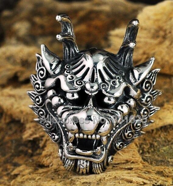 925 argent sculpté antique tête de Dragon chinois anneaux ouverts réglable S925 Thai solide argent chanceux rétro anneau bijoux de mode