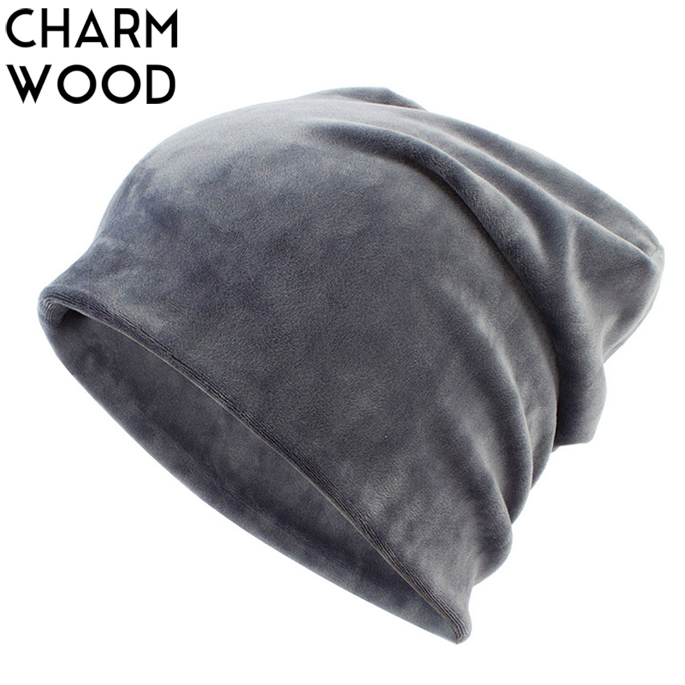 New Women's Velvet Beanie Hat Winter Warm Polyester Skullies Beanies For Ladies Solid Velour Bonnet Hats Dropping Shipping